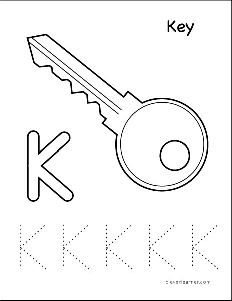 Letter K is for Key coloring worksheet for preschool