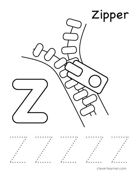 Coloring Pages Zipper : Zipper z worksheets for preschool best free