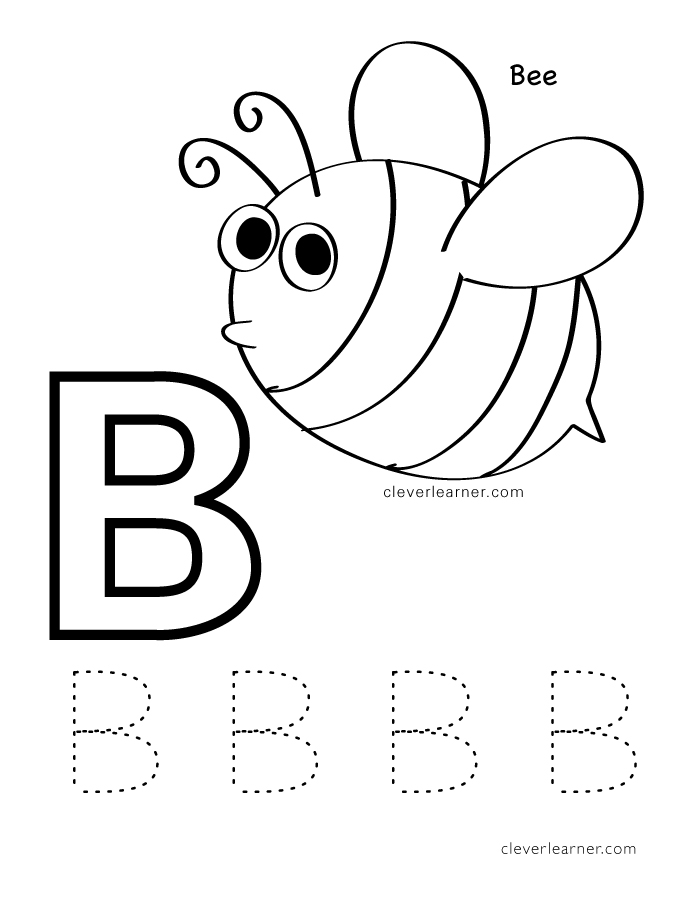 B Is For Bee Colour Sheets Letter Practice Writing
