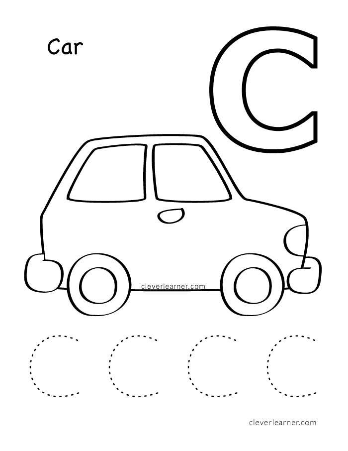 Car preschool letter c worksheet car best free printable for C is for cat coloring page