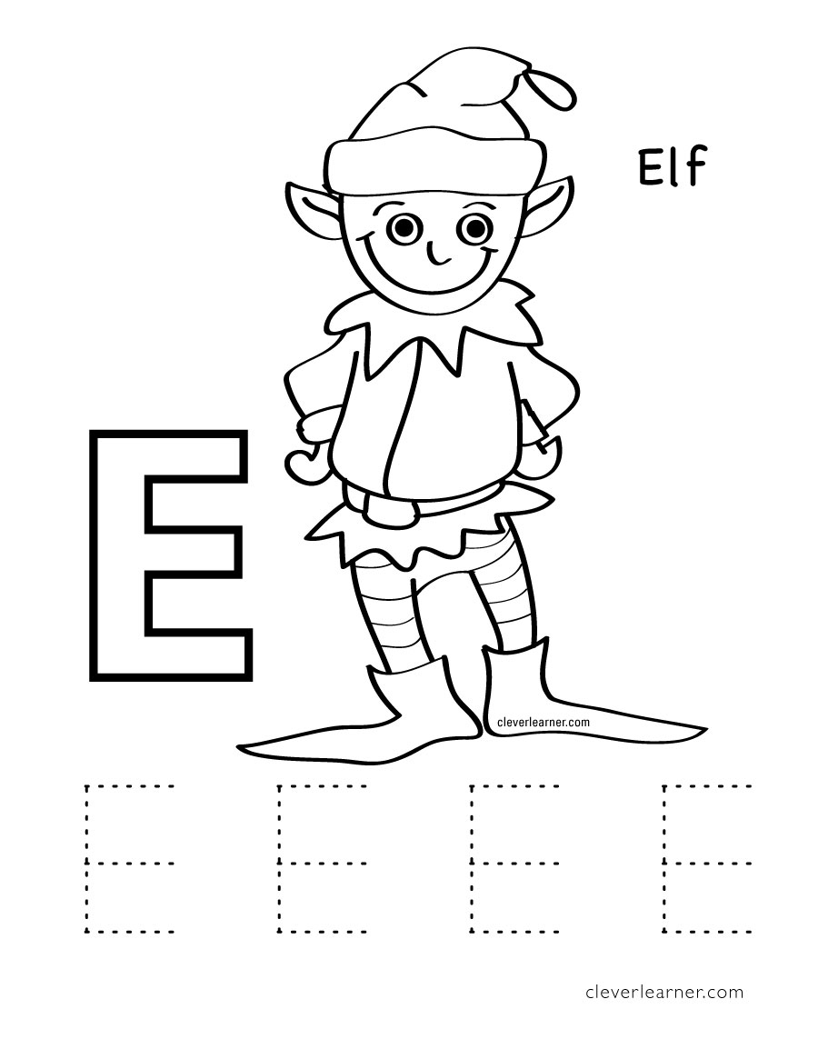 letter e writing and coloring sheet