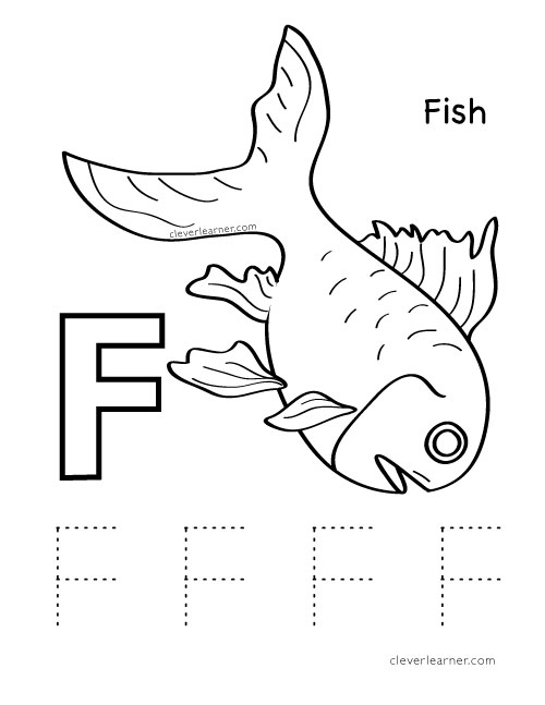 Letter F Coloring Pictures : Letter f writing and coloring sheet