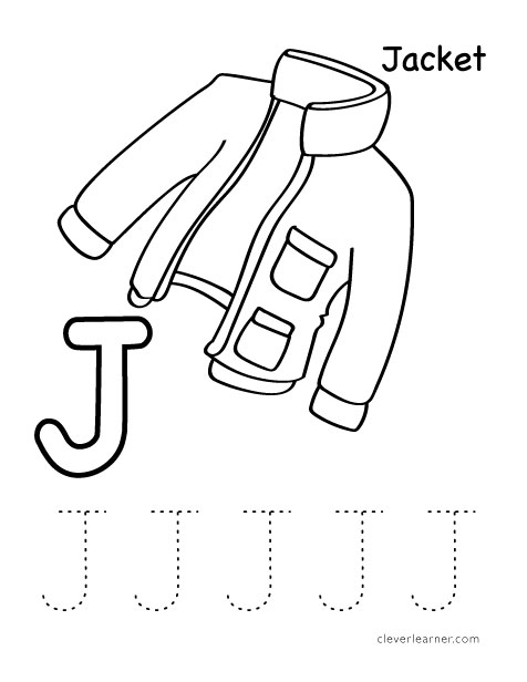 Letter J is for jacket practice worksheet for kids