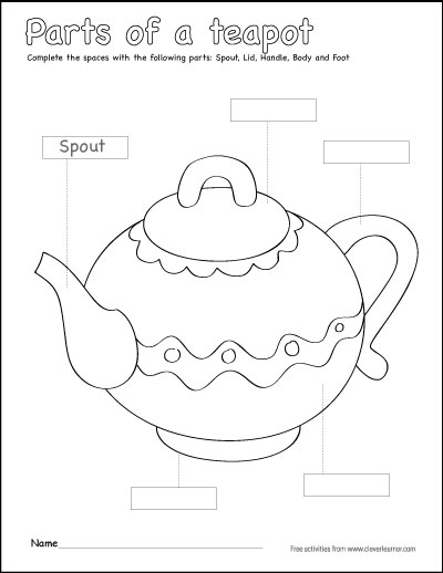 Label and color the parts of a teapot
