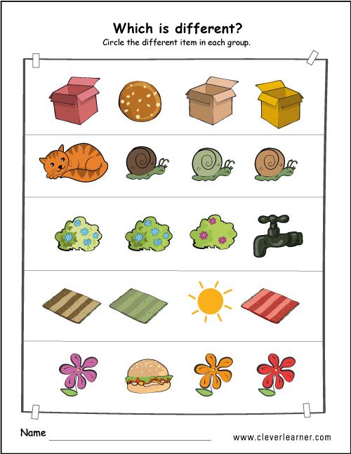 Printable Difference Worksheets Preschools