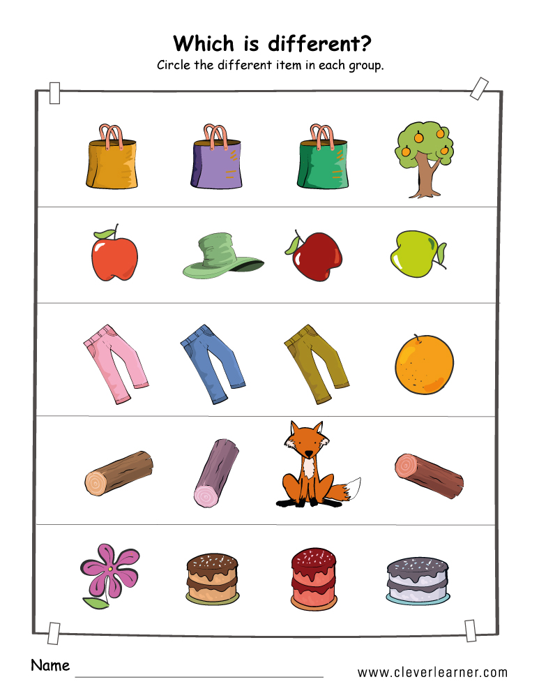 Printable picture difference worksheets for preschools