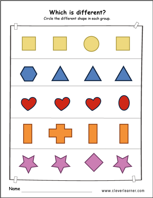 Printable shape difference worksheets for preschools