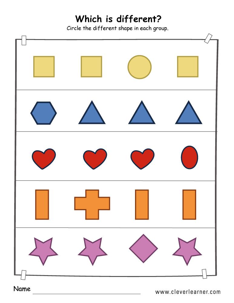 printable shape difference worksheets for preschools. Black Bedroom Furniture Sets. Home Design Ideas