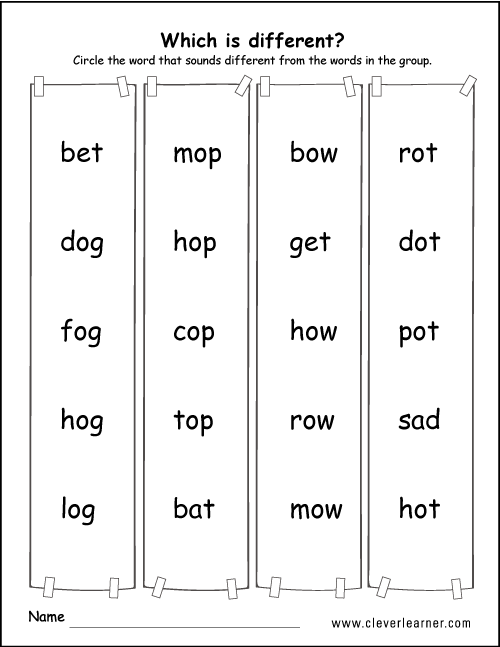 Printable sound difference worksheets for preschools