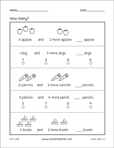 1st Grade Math Test Sheets and Practice Sheets