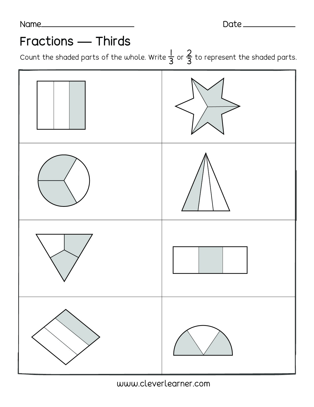 fun activity on fractions thirds worksheets for children. Black Bedroom Furniture Sets. Home Design Ideas