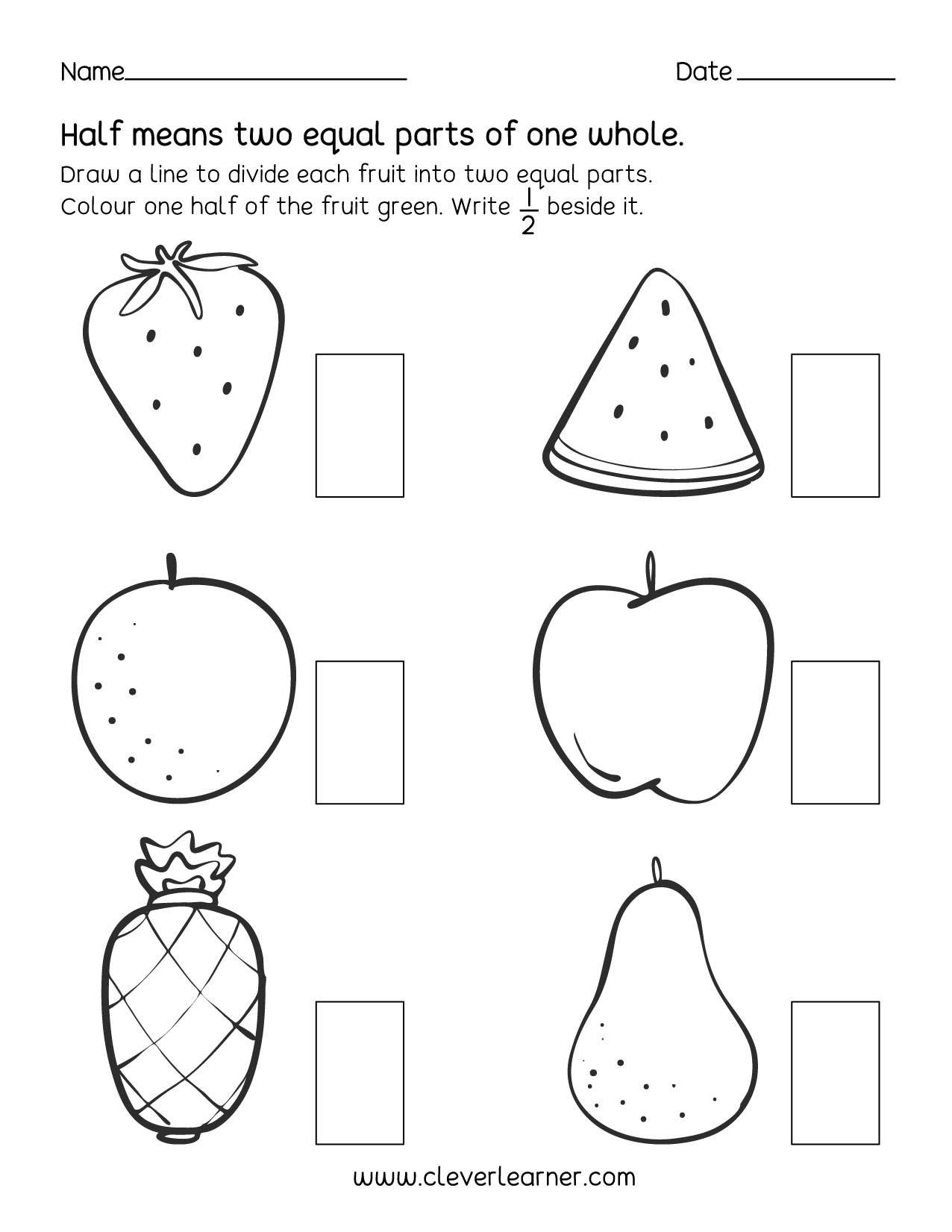fun activity on fractions half  worksheets for children fun fractions activities for children learn fractions half