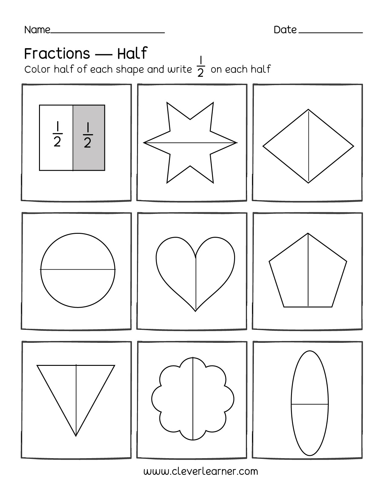 fun activity on fractions half  worksheets for children half and half fractions half worksheets for kindergarten