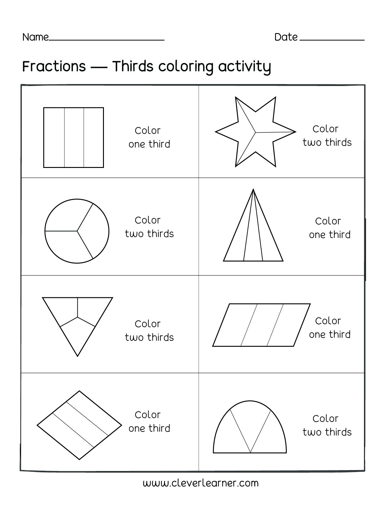 Fun activity on fractions, Thirds worksheets for children