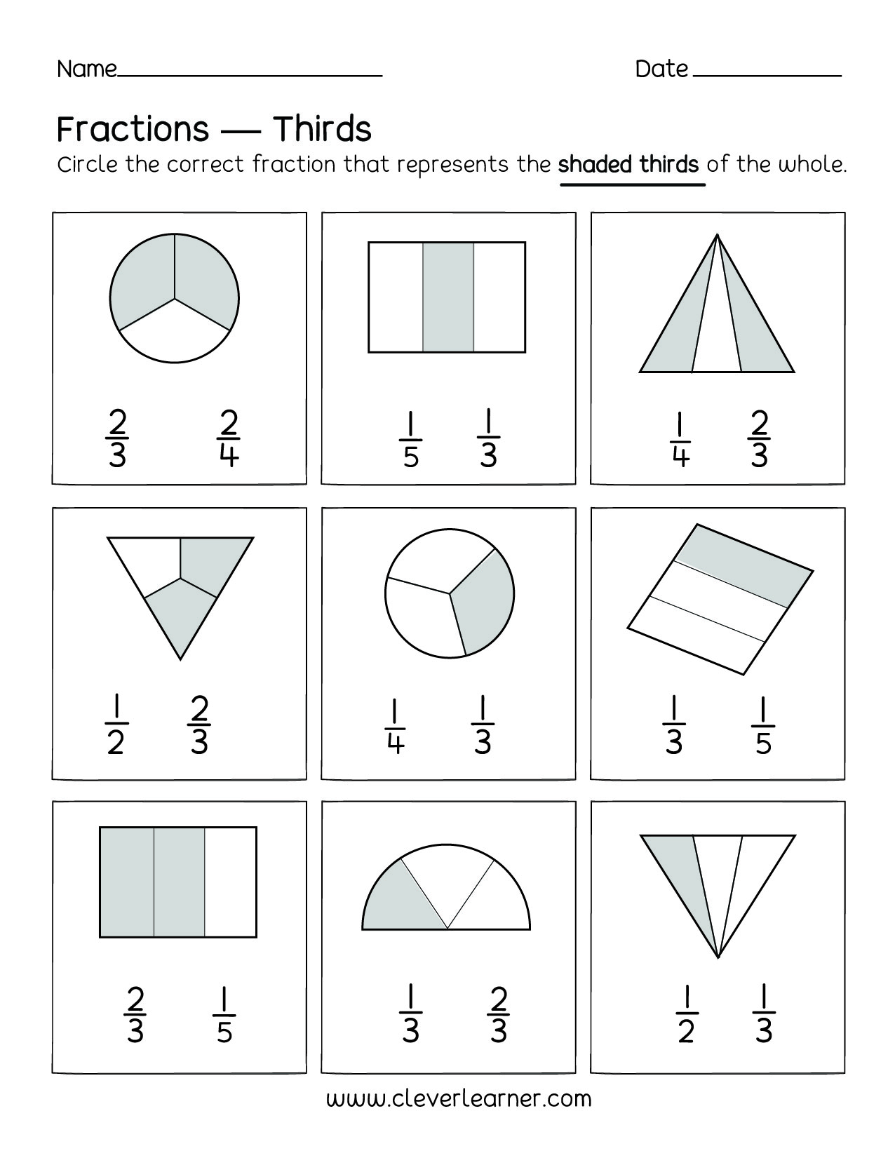 Fun Activity On Fractions Thirds Worksheets For Children