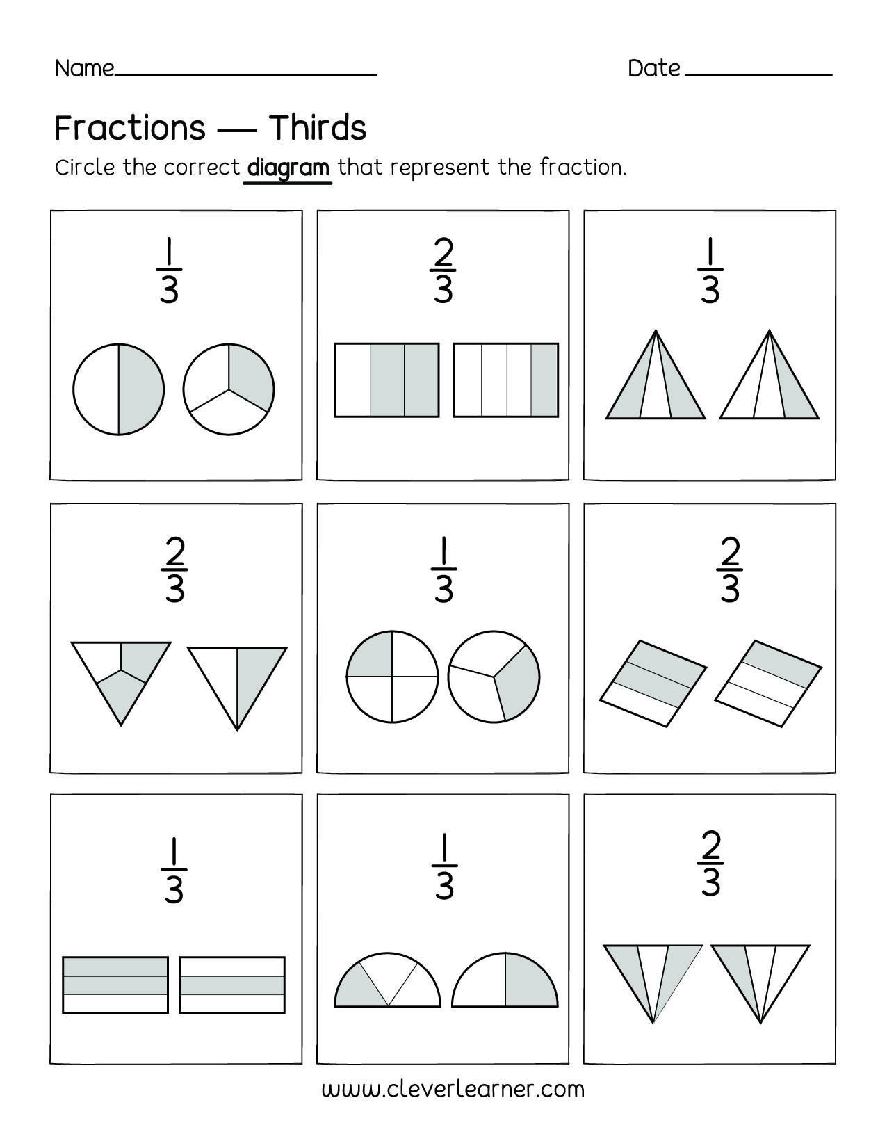 fun activity on fractions thirds worksheets for children thirds fractions for preschools thirds fractions worksheets for  kindergartens