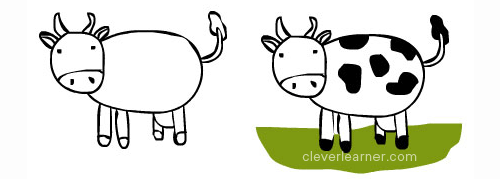 Draw And Color A Cow