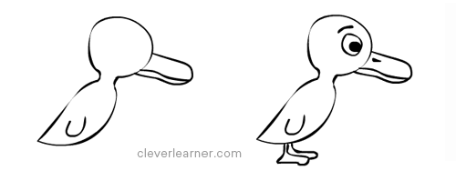Step by step drawing duckling