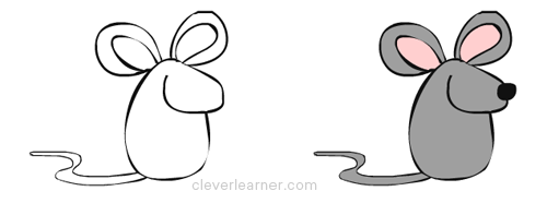 Step by step drawing of a mouse for How to draw with a mouse