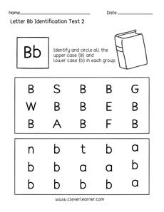 fun letter b identification activity and test sheets for preschools and kindergartens. Black Bedroom Furniture Sets. Home Design Ideas
