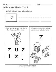 Letter Z Pictures.Fun Letter Z Identification Activity And Test Sheets For