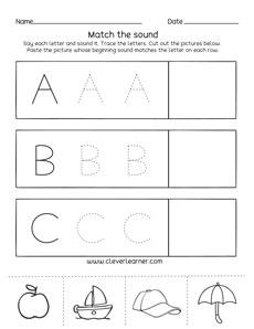 letter a b c sounds matching phonics worksheets for preschool and kindergarten kids. Black Bedroom Furniture Sets. Home Design Ideas