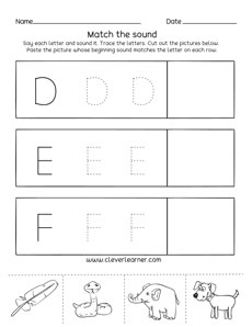 letter d e f sounds matching phonics worksheets for preschool and kindergarten kids. Black Bedroom Furniture Sets. Home Design Ideas