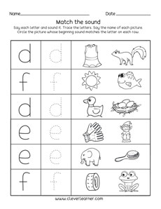 Letter d,e,f sounds matching phonics worksheets for preschool and ...