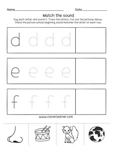 Letter d,e,f sounds matching phonics worksheets for ...