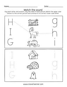 letter g h i sounds matching phonics worksheets for preschool and kindergarten kids. Black Bedroom Furniture Sets. Home Design Ideas