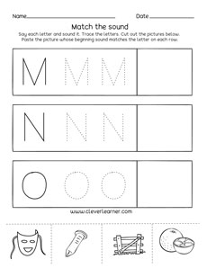 letter m n o sounds matching phonics worksheets for. Black Bedroom Furniture Sets. Home Design Ideas