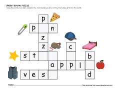 math worksheet : cross sound puzzle worksheets for preschool and kindergarten kids : Kindergarten Puzzle Worksheets