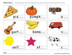 math worksheet : ending sounds worksheets for preschool and kindergarten kids : Ending Sounds Worksheets Kindergarten