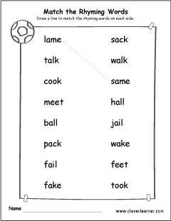 matching-rhyme-words-activity-worksheet-1 Vowel Worksheet For Kindergarten on cut paste, all short, same word, printable packets,