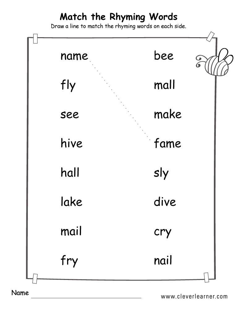 Rhyme words matching worksheets for kindergarten and preschool kids – Rhyming Worksheets Preschool