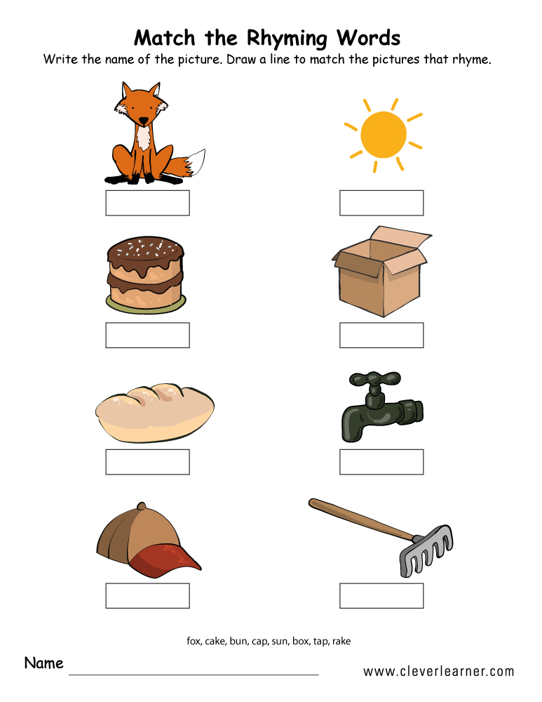 Matching Rhyming Words | Worksheet | Education.com