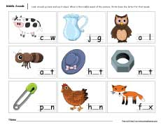 Worksheet Middle Sound Worksheets middle sounds worksheets for preschool and kindergarten kids fun sound activities parents mid worksheet children