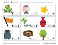 Middle sounds worksheets for preschool and kindergarten kids