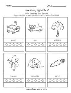 Word syllable worksheets for preschool and kindergarten kids