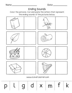 Ending sounds worksheets and printables for preschool and ...