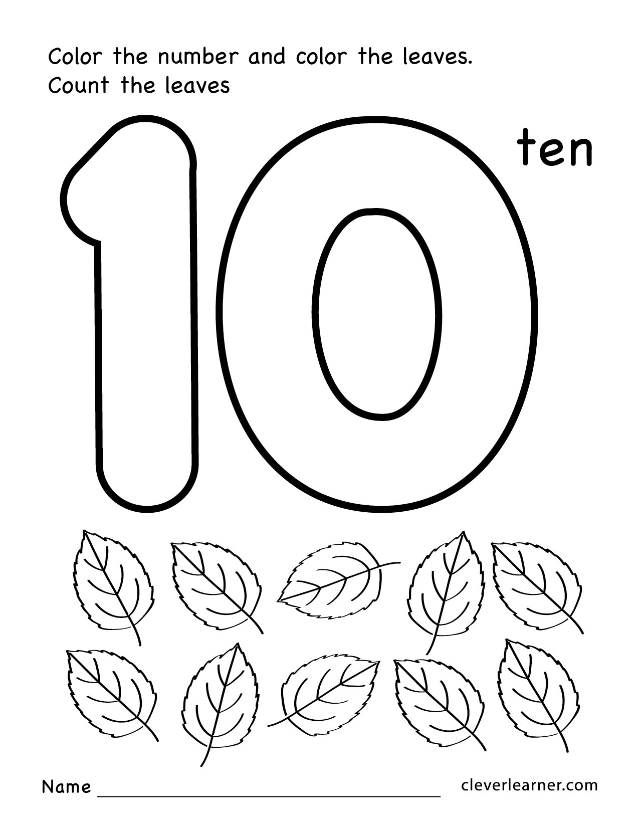 Number ten writing counting and identification printable – Printable Number Worksheets for Kindergarten