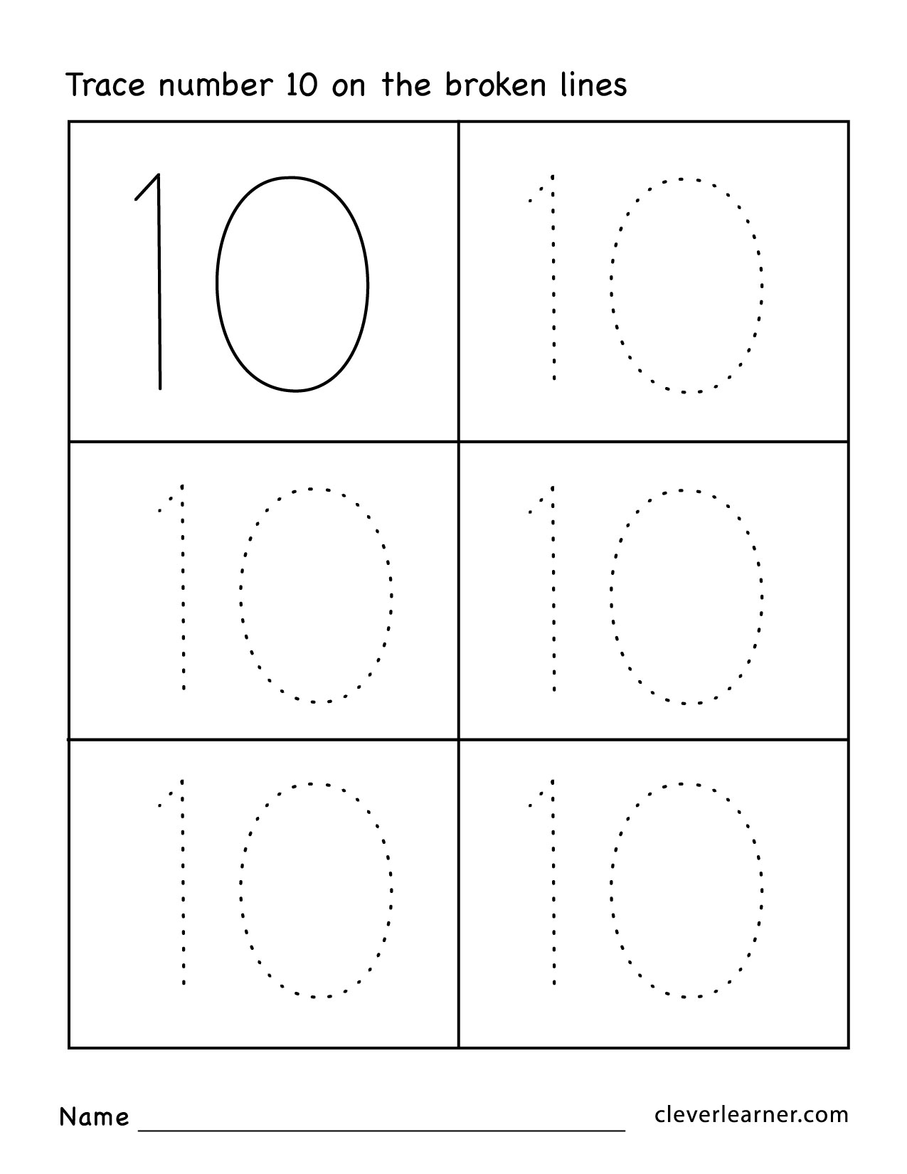 - Number Ten Writing, Counting And Identification Printable