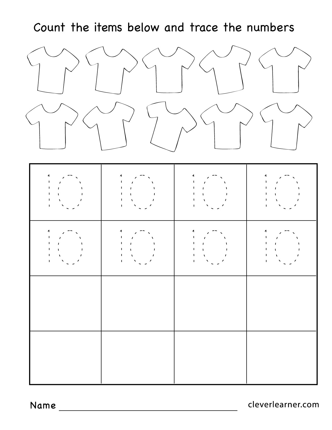 Number Ten Writing Counting And Identification Printable Worksheets