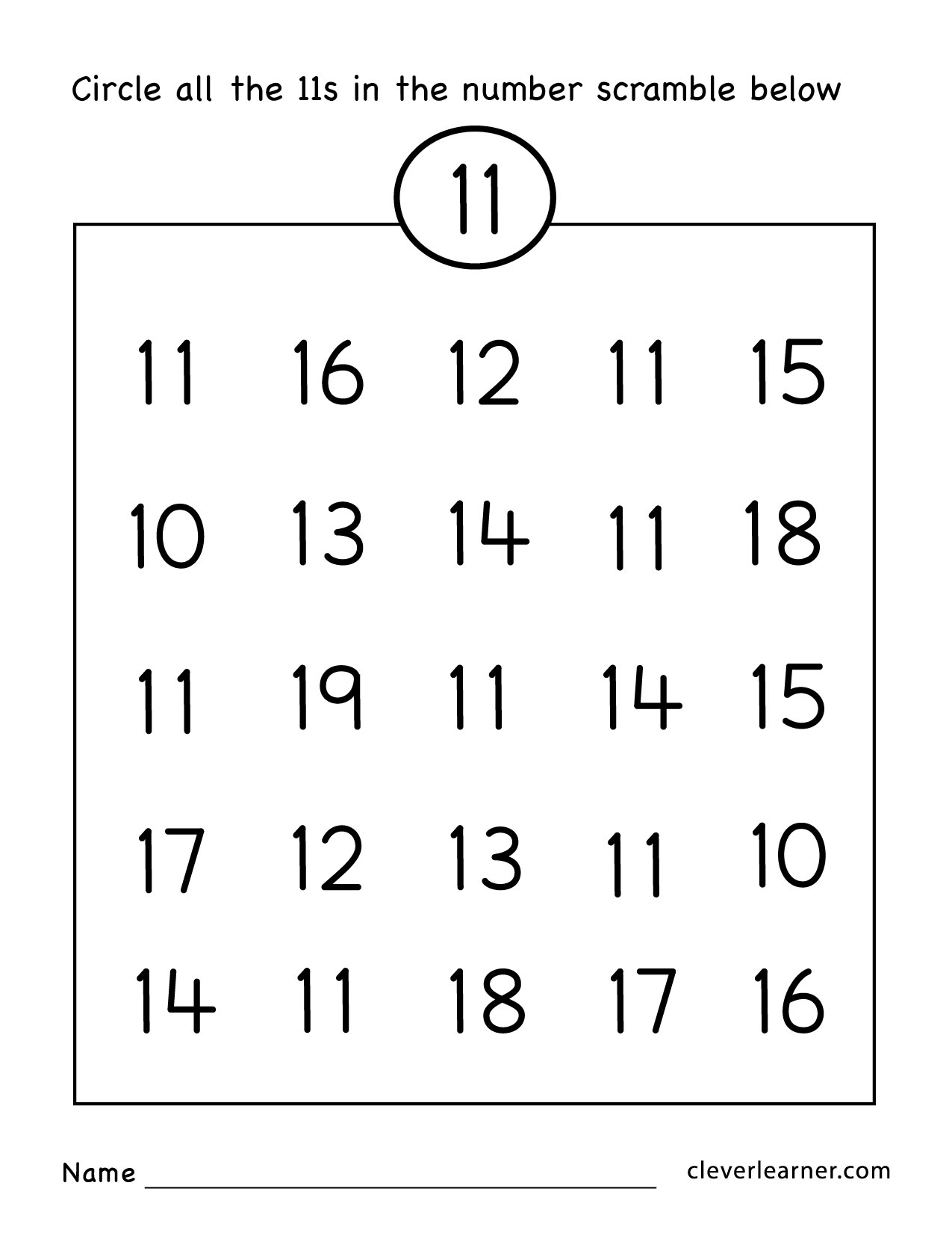 worksheet Numbers 11 19 Worksheets number eleven writing counting and identification printable free 11 scramble numbers worksheet