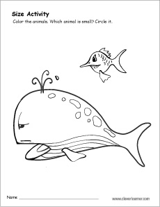 free kindergarten size worksheet on small and big - Big And Small Coloring Pages