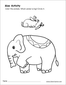 free preschool size worksheet on small and big - Big And Small Coloring Pages