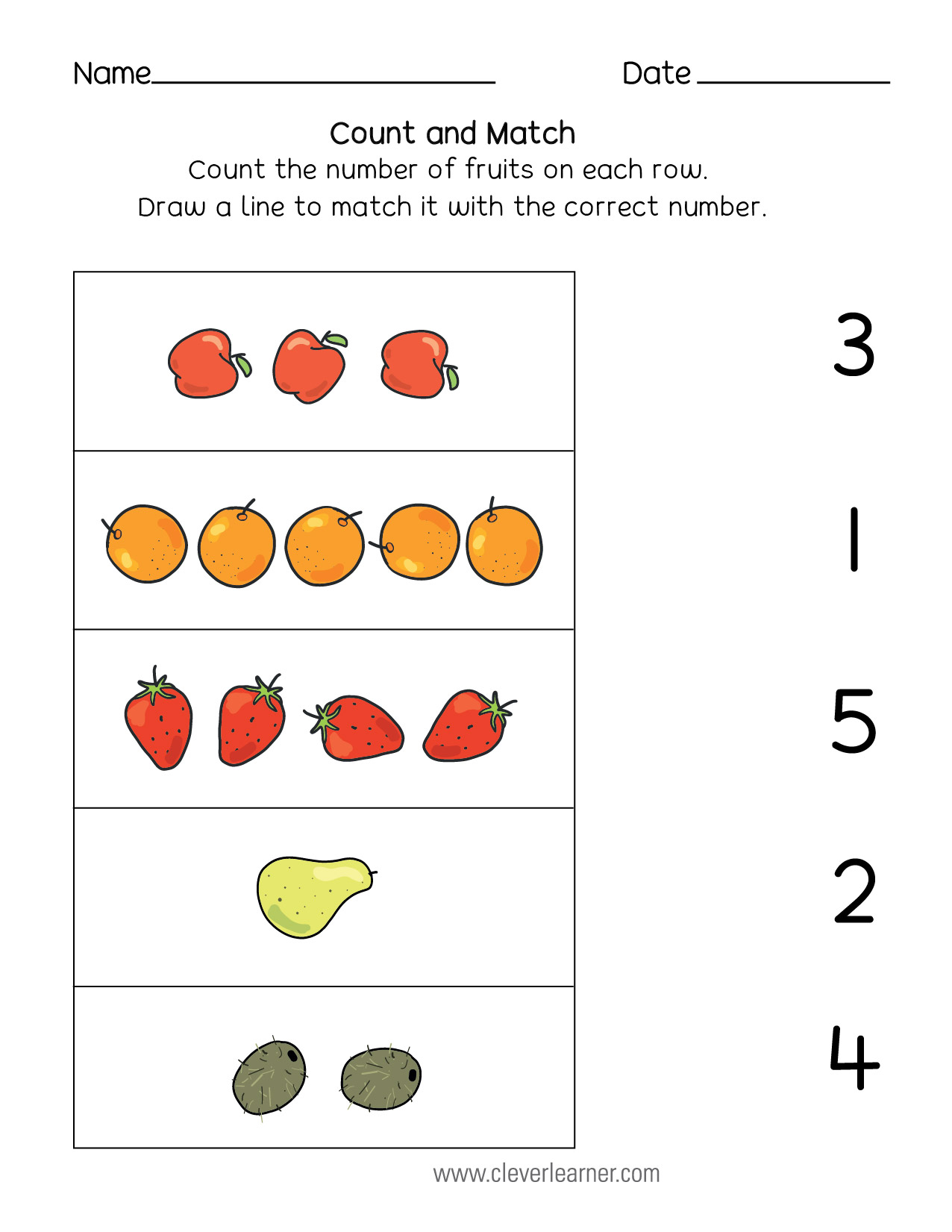 Number matching, counting and number writing worksheets