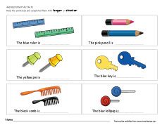 Free printable worksheets on measuring sizes, long and short.