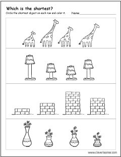 free printable worksheets on measuring sizes tall and short  which is the shortest worksheets for preschool children