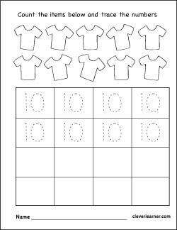 Number ten writing, counting and identification printable ...